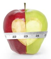 weight loss apple with measuring tape, small