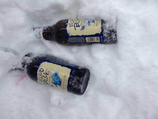 beer in snow